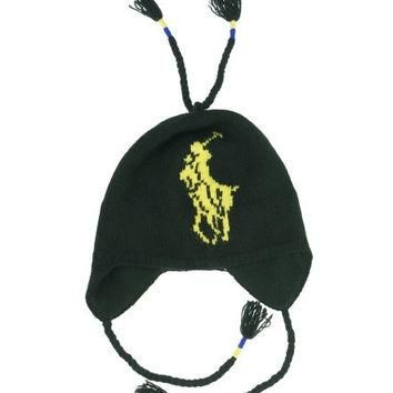 Polo Ralph Lauren Men Lambswool Big Pony Logo Hat (One size, Black/yellow)