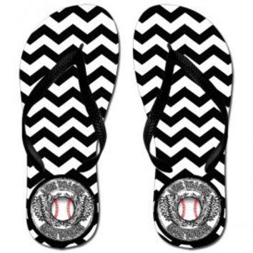 LOVE TO LIVE BASEBALL CHEVRON FLIP FLOPS