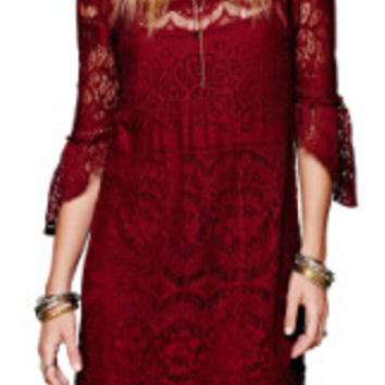 2 Piece Dress Lace Boho Mini Dress over Slip Dress 3 Colors