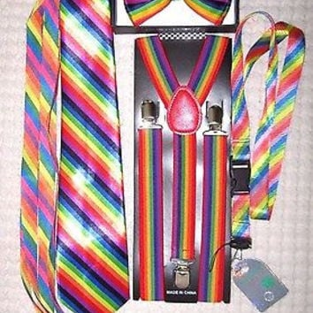 Unisex Rainbow Stripes Adjustable Bow tie,Neck Tie,Suspenders,Lanyard,Shoelaces5