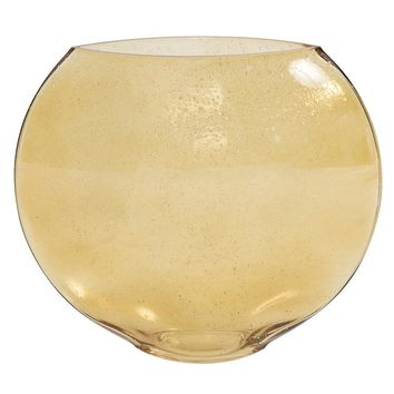 Amber Gold Round Glass Bubble Vase - Small