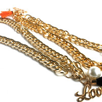 """No Hassle Tassel"" Gold Link Chain Choker Necklace"