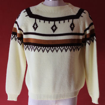 60s mens mellow yellow crocheted feather native sweater southwestern