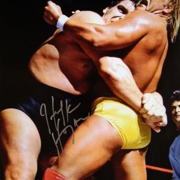 VONE05 Hulk Hogan Signed Autographed Glossy 16x20 Photo vs Andre the Giant (ASI COA)