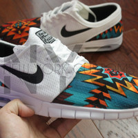 Nike SB Stefan Janoski Max White Aztec Tribal Custom Men