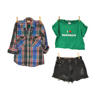 90s Grunge IRONMAN t shirt hipster crop top green heart tee indie heart 1990s IndieClothCo