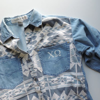 Vintage Chi Omega Upcycled Tribal Print Jean Button Down Shirt // Size SMALL // Ready to Ship // Only One
