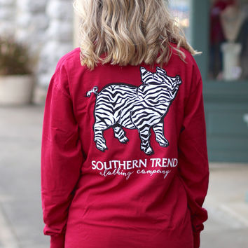 Zebra Proud Pig Long Sleeve Tee {Chili Pepper}