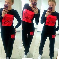 Louboutin all you need is Fashion Top Sweater Pullover Pants Trousers Set Two-Piece