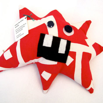 Stress Monster Plush Toy - Handmade from Vintage Upholstery Fabric