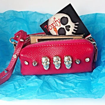 Spiked Skulls Pink Genuine Leather Clutch Coin Purse Wallet with Key Ring & Zippered Compartments + Carry Strap
