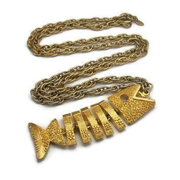 "Signed Celebrity NY Gold Tone Fish Pendant - Whimsical Mid Century Vintage Jewelry Articulated Fish Skeleton Long Necklace Chunky 28"" Chain"