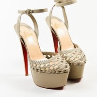 DCCK2 Christian Louboutin Taupe Leather Woven Ultra High Platform Sandals