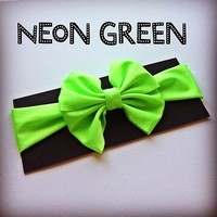 Neon Green big bow headwrap from Bowlicious Divas Bowtique