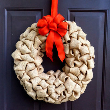 Burlap Bubble Wreath for Front Door with Bow Fall Shabby Chic