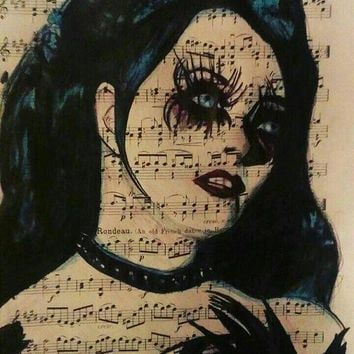 "Repo the Genetic Opera: Blind Mag 8.5""x11"" Color Pencil on Sheet Music These Eyes Can Do More Than See"
