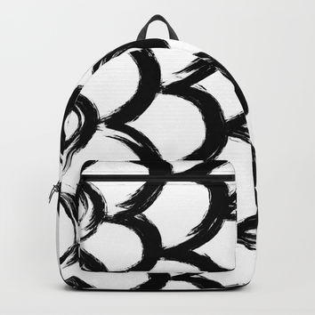 Black and White Scaled Brush Strokes Pattern Print Minimal Minimalism Backpacks by AEJ Design