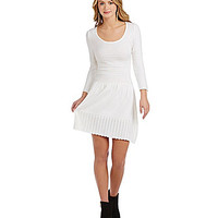 Sequin Hearts 3/4 Sleeve Ribbed Sweater Dress - Winter White