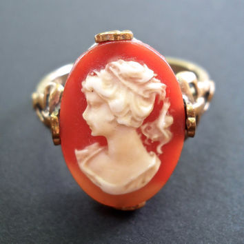 Cameo Gold-Filled Ring, 1/20 10K, Red Shell, Vintage sz 9 - 9.5