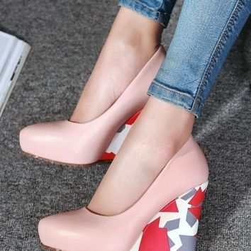 Pink Point Toe Color Block Print Casual Wedges Shoes