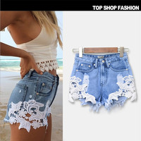 Shorts  Mini Lace Hollow Out  Skinny Denim Shorts s Ripped Hole Jeans for