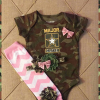 Major Cutie Army Camo Baby Girl Onesuit,  Baby Girl Camo Outfit, Camo Headband, Infant Army Outfit, Camo Newborn Photos, Camouflage Baby