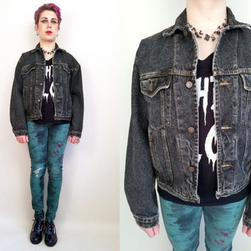 90s Clothing Gap Denim Jacket Black Jean Jacket Vintage Gap Jean Jacket Size Small Medium 90s Grunge Vintage Denim Jacket Black Denim Jacket