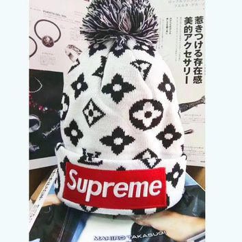 LV & Supreme Women Men Fashion Winter Knit Cap B-WMGCD White