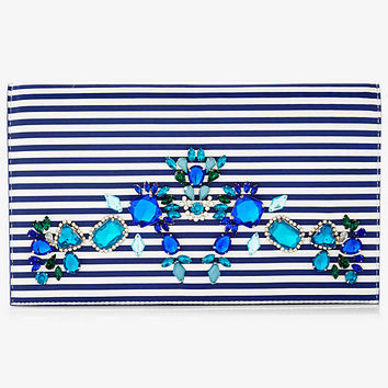 STRIPED RHINESTONE EMBELLISHED CLUTCH from EXPRESS
