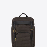 SAINT LAURENT CLASSIC TOILE MONOGRAM RUCKSACK IN BLACK AND BEIGE PRINTED CANVAS AND LEATHER | YSL.COM