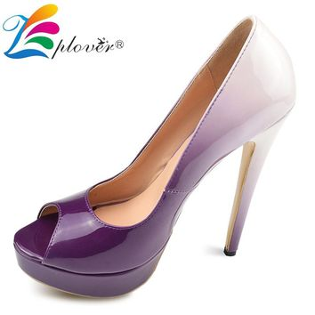 Zplover Extreme High Heels Pumps Peep Toe Platform Shoes Woman Gradual Change Sexy Ladies Shoes Fashion Thin Heels Women Shoes