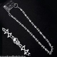 """12"""" SILVER SKULL AND CROSSBONES WALLET JEAN CHAIN HIP HOP PUNK KEYCHAIN-NEW"""