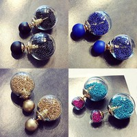 Unique Wish Ball Spherical Sand Gems Crystal Jewelry Earring Studs