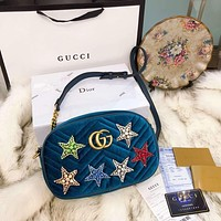 "Hot Sale ""GUCCI"" Classic Popular Women Star Blue Velvet Leather Metal Chain Crossbody Satchel Shoulder Bag I-BCZ(CJZX)"