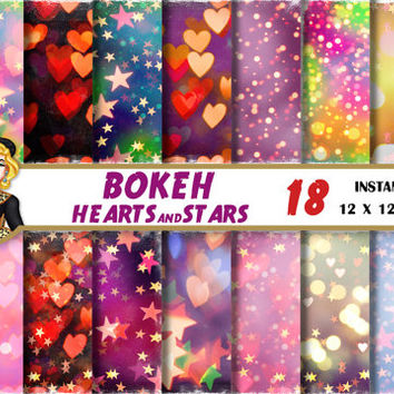 Colorful Bokeh digital paper, Bokeh hearts and stars paper, bright bokeh backgrounds, patterns Scrapbooking Paper, Birthday,Valentines