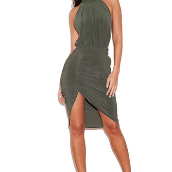 Clothing : Bodycon Dresses : 'Raquela' Khaki Backless Halter Draped Dress