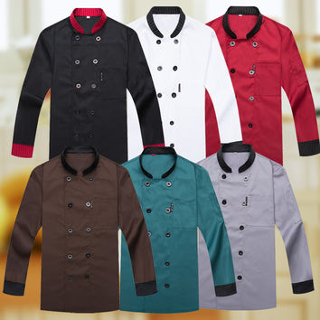 Long Sleeve Winter Autumn Chef Wear Hotel Kitchen Restaurant Cooking Uniform Bar Chef Uniform Restaurant Fashion Chef Clothing 8