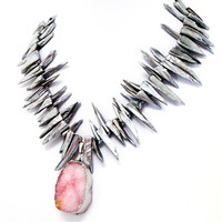 Silver Mother Of Pearl spikes with Pink Druzy Pendant Necklace,  Bold Statement Necklace
