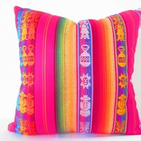 Mexican Pillow Cover, 20 Inch tribal pillows, Aztec Home Decor Available in 4 colors!