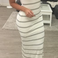 Striped Maxi Dress (white)