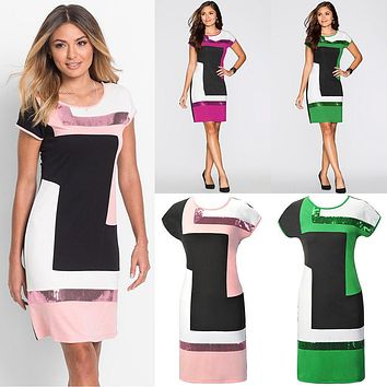 Women Casual Short Sleeve Dresses Summer Party Evening Bodycon Round Neck Clothing Short Mini Dress