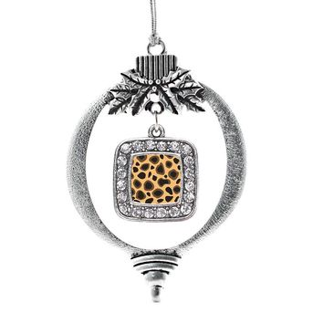 Leopard Print Square Charm Holiday Ornament