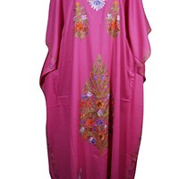 Mogul Womens Caftan Kashmiri Embroiderd Kimono Housdedress Kaftan: Amazon.ca: Clothing & Accessories