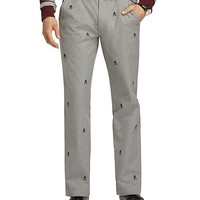 Slim Fit Fancy Fleece and Shears Embroidered Pants