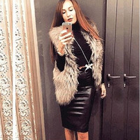 Comfy PU Leather Bodycon Skirt B0014161