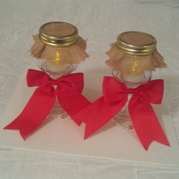 Burlap and red wedding candle jar set. Any color to match your wedding colors.