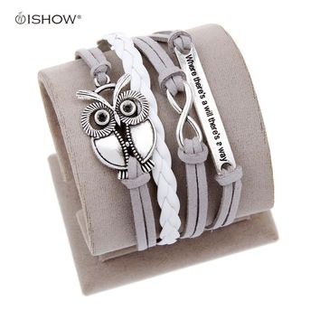 Antique Owl Engrave Epigram Charm Leather Bracelet Various Style Butterfly & LOVE & Anchor Charms