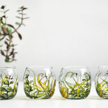 ready to ship - Hand Painted Round Glass Votive - Grass Fields Collection