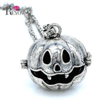 "5pcs/lot Antique Silver Big Pumpkin Hollow Locket 30"" Chain Necklace For Aromatherapy Essential Oil Diffuser Jewelry"