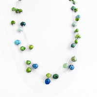 Floating pearl necklace, freshwater pearl illusion necklace, blue green peacock colour pearls, bridal wedding necklace